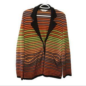 Exclusively Misook Striped  Zip Cardigan XL